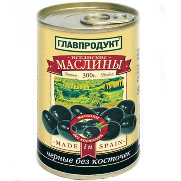 Маслины чёрные без косточки 300мл 12шт ТМ ГЛАВПРОДУКТ