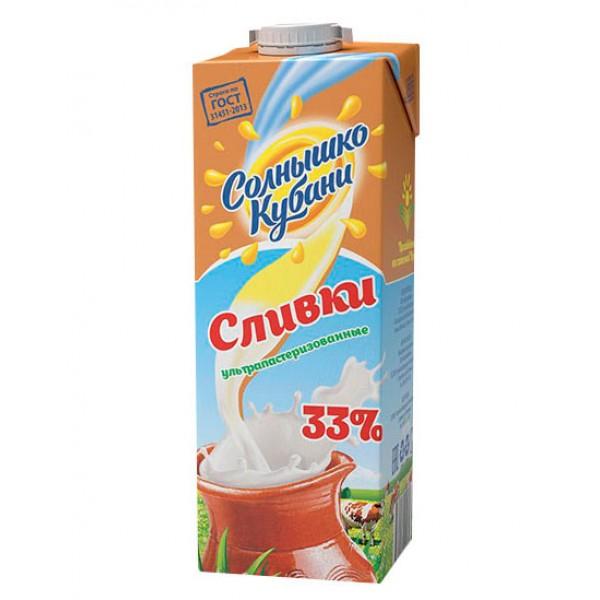 "Сливки ""Солнышко Кубани"" мдж 33%1л/12шт"