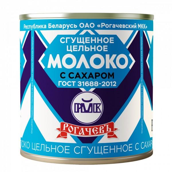 РОГАЧЕВ Молоко цельн. сгущ. с сахаром 8,5% ГОСТ 380г(ж/б):30 шт Беларуссия