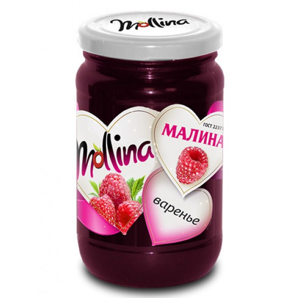 """Джем  """"Mollina"""" Малина ГОСТ 450 гр. 1/15"""