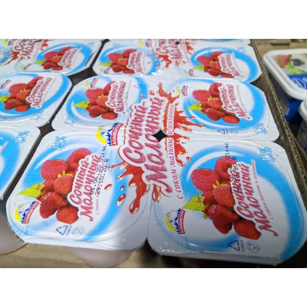 """Йогурт-Продукт йогуртный МАЛИНА-ЗЕМЛЯНИКА """" СОЧНЫЙ МОЛОЧНЫЙ"""" мдж 1,2% 95 гр/24 шт (Выработано 03.07."""