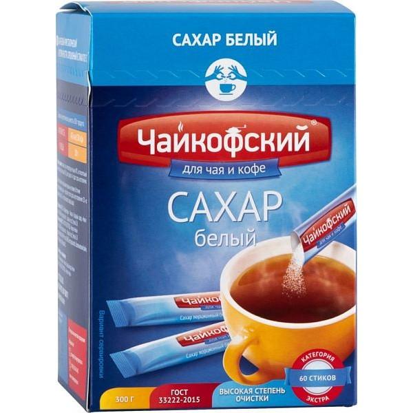 Сахар белый порционный  к чаю и кофе в стиках Чайкофский (5гр*60шт*10шт) 600штТМРусагро-сахар (БЛ)