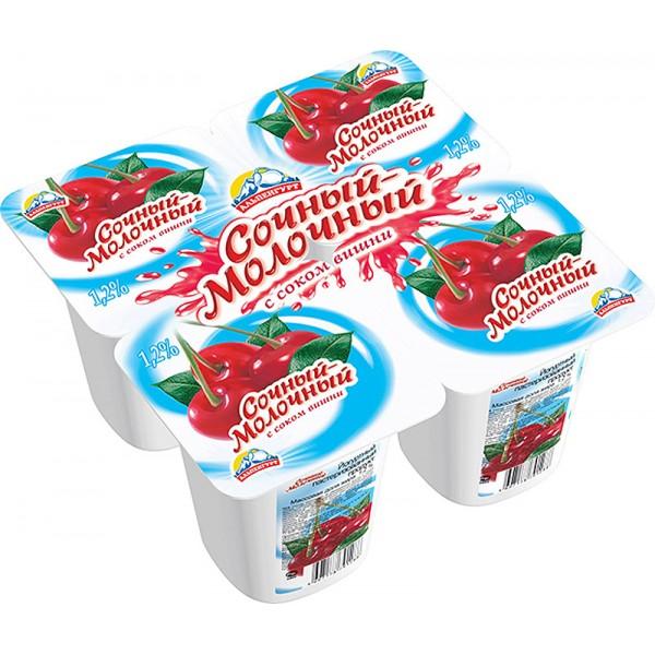 """Йогурт Продукт йогуртный ВИШНЯ """"СОЧНЫЙ МОЛОЧНЫЙ"""" мдж 1,2% 95 гр/24 шт(Выработано 21.09.20,срок до 18"""