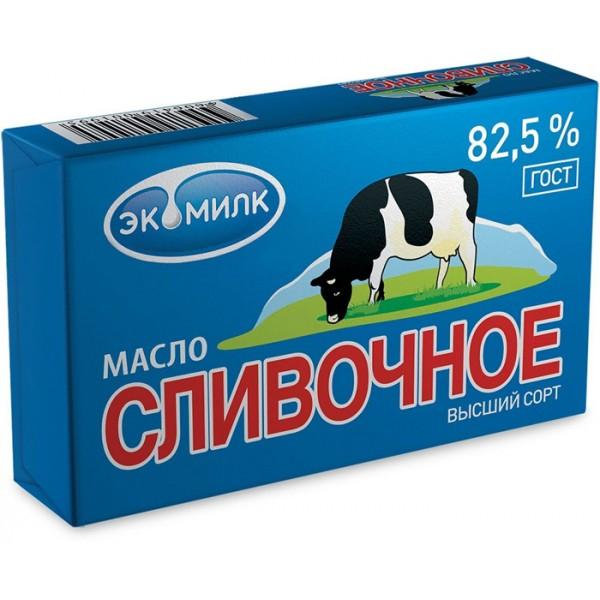 Масло  Экомилк СЛИВОЧНОЕ несоленое мдж 82,5% 180г фольга/30шт