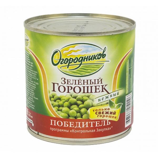 Горошек зелёный ж/б 400гр 12шт ТМ Огородников