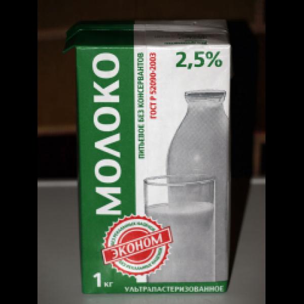 """Молоко ультрапастеризованное """"Эконом""""  2,5%  1литр ТВА МИД"""