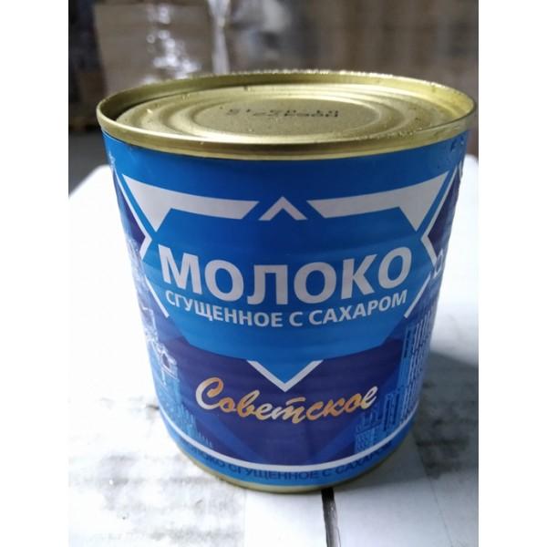 МОЛОКО цельное сгущ. с сахаром 0,2 % 370 гр,45 шт.ТМ Советское(25,08.2019-25.08.2021)