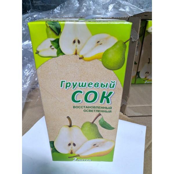 СОК ГРУШЕВЫЙ фруктовый восстановл Tetra pak 2л(6)ГОСТ 32103-2013Slim