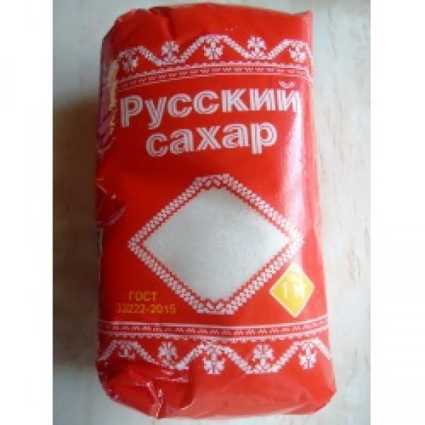 Сахар  белый  кристал.Русский п/пакет фас.1кг.  ТМ Русагро-сахар