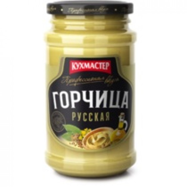 "Горчица "" Русская "" стекло  190гр./12шт КУХМАСТЕР"
