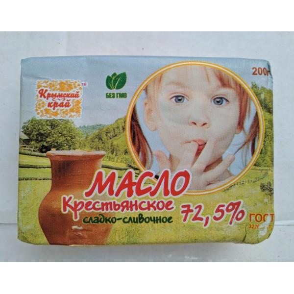 """Масло КК """"Крестьянское"""" сладко-сливочное 72,5% 200гр*30 шт ЕАЭС N RU Д-RU.ВЕ02.В.05662/19"""