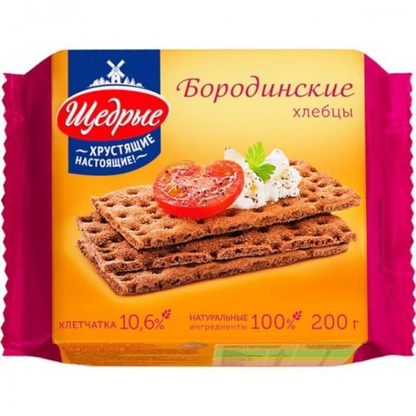 Хлебцы Щедрые .200г бородинские/16