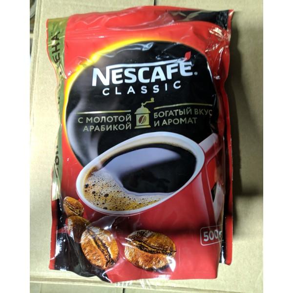"""Кофе """"Нескафе Классик""""  500г. растворимый с молотым (мягкая упаковка) *6шт."""